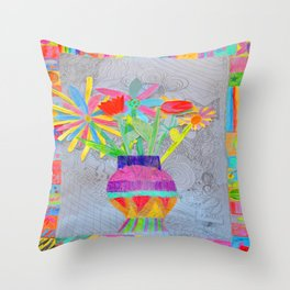 Flower Vase | Kids Painting | 3D Collage Throw Pillow