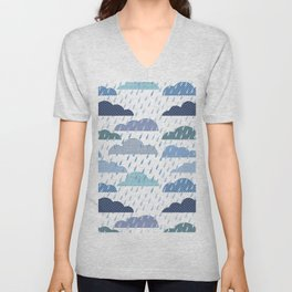 Rainy seamless pattern with clouds Unisex V-Neck