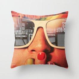 Retro Girl Throw Pillow