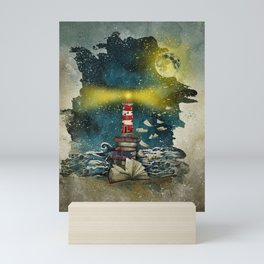the sea is poetry Mini Art Print