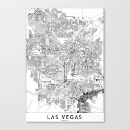 Las Vegas White Map Canvas Print