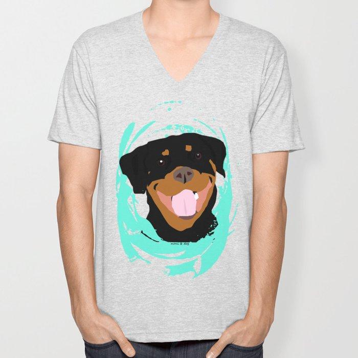 Rottweiler graphic on Mint Unisex V-Neck