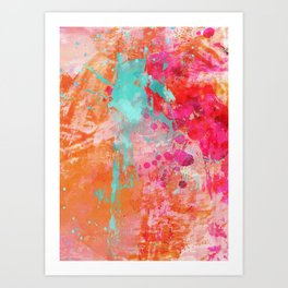 Paint Splatter Turquoise Orange And Pink Art Print