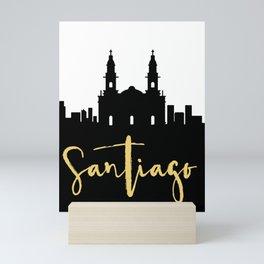 SANTIAGO DE CHILE DESIGNER SILHOUETTE SKYLINE ART Mini Art Print
