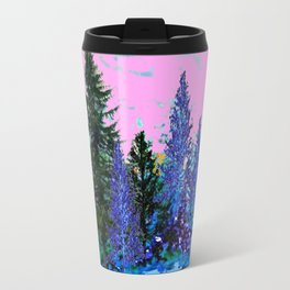 YELLOW-BLUE WINTER SNOWFLAKES  FOREST TREE  ART Travel Mug