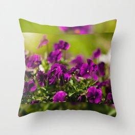 Purple pansies flowering bunch Throw Pillow