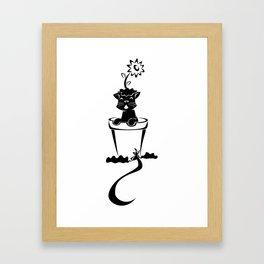 Silhouette In The Flower Pot Framed Art Print