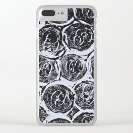 Rosettes Abstracted Black and White Clear iPhone Case