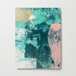 Curious [2]: a vibrant, minimal abstract mixed-media piece in teal, pink, white and gold Metal Print