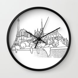 Notre Dame and Eiffel Tower travel scene Wall Clock