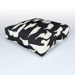Tribal Paint - Ivory on Black Outdoor Floor Cushion