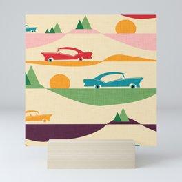50s Retro Road Trip Beige #midcenturymodern Mini Art Print