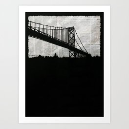 Paper City, Newspaper Bridge Collage Art Print