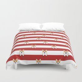 Corgi Stripes Corgi Dog design Cute Corgi Pet Gifts Duvet Cover