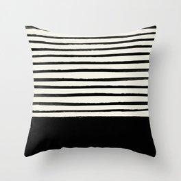 Black x Stripes Throw Pillow