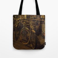 bicycles Tote Bags featuring Bicycles by Gurevich Fine Art