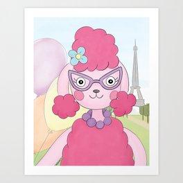 Pink Poodle in Paris Art Print