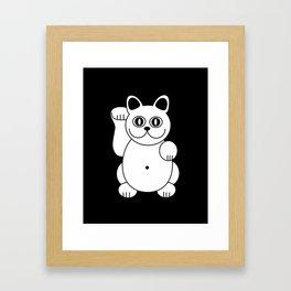White Cat For Good Luck Framed Art Print