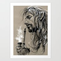 smoking Art Prints featuring smoking by evankart