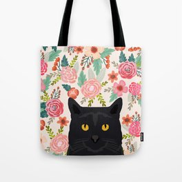 Black Cat florals spring summer animal portrait pet friendly cat lady gifts for her or him cute cats Tote Bag