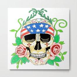 Biker Sugar Skull Metal Print
