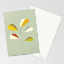 Mid Century Modern Single Leaf Pattern 1. Vintage green Stationery Cards