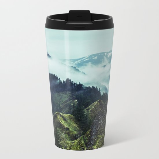 Forest Mountains Blue Sky Metal Travel Mug