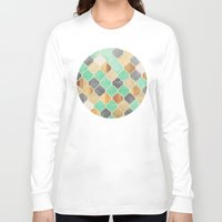 bedding Long Sleeve T-shirts featuring Charcoal, Mint, Wood & Gold Moroccan Pattern by micklyn