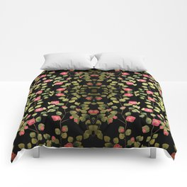 """""""Spring pink flowers and leaves - Black"""" Comforters"""