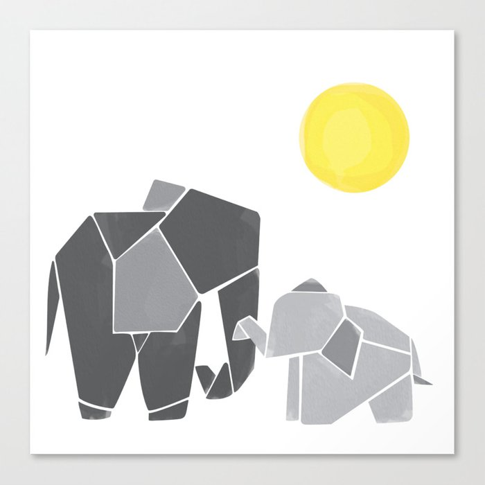 Mama And Baby Elephant Nursery Wall Art Canvas Print