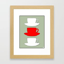 Retro Coffee Print - White & Red Cups on Silver Bubbles Background Framed Art Print