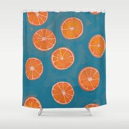 hand-painted california orange slices Shower Curtain