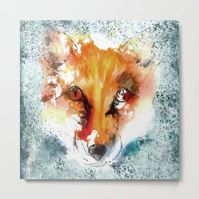 Wild wild Fox - Animal in the forest- watercolor illustration Metal Print