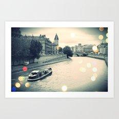 Floating gray Art Print