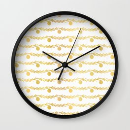 Luxe Gold Foil Christmas Tree Branch Bauble Stripes, Seamless Vector Wall Clock