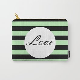 Vintage Love - Pastel green and black design Carry-All Pouch