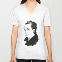 camus V-neck T-shirts featuring Camus 1 by reymonstruo