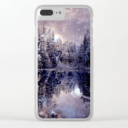A Cold Winter's Night Neutral Beige Navy Blue Clear iPhone Case