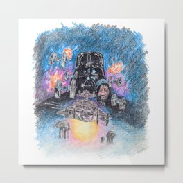 'The Empire Strikes Back' montage - Drawing in colour pencil Metal Print