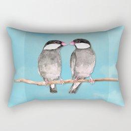 Two kissing Java sparrows Rectangular Pillow