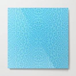 Mandala Flowers turquoise blue Metal Print