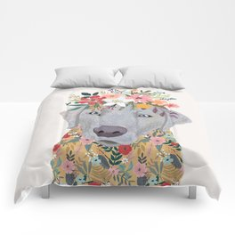 Silver Labrador with Flowers Comforters