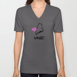 Love Maine State Sketch USA Art Design Unisex V-Neck