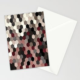 Hexagon Pattern In Gray and Burgundy Autumn Colors Stationery Cards