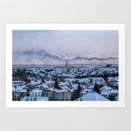 Icy Mountains in Reykjavik Art Print