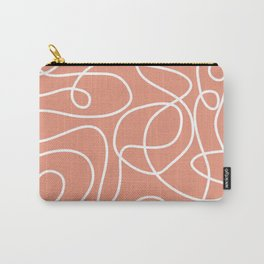 Doodle Line Art | White Lines on Coral Background Carry-All Pouch
