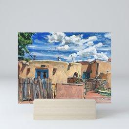 Adobe With Clouds, Santa Fe Mini Art Print