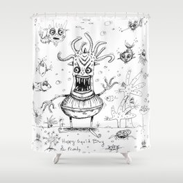Happy Squid Boy and Friends sketch Shower Curtain