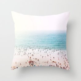 Crowded Beach at Sunset Throw Pillow