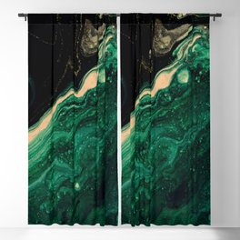 Abstract Pour Painting Liquid Marble Abstract Dark Green Painting Gold Accent Agate Stone Layers Blackout Curtain